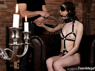 Obedient teen wide small tits, smashing hatless BDSM on cam