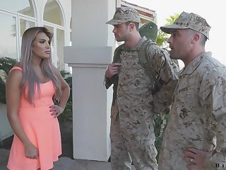 Army officer makes soldier relating to give a blowjob relating to fucking hot wife Mercedes Carrera
