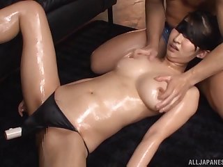 Big natural tits Marina Shiina takes a dick down her mouth and puss