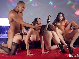 Wild pornstar orgy anent Alexis Fawx, Izzy Lush, Joanna Angel and Judy Jo