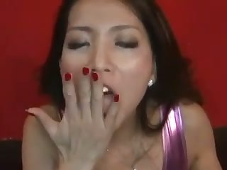 This Asian babe is a rare gem that semblance great with a cum in her mouth
