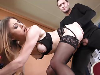 Seductive babe in deathly lingerie and stockings, Paulina Soul and Kai Taylor are fucking in a studio