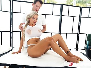 Oiled back massage leads to passionate fucking in prone-bone - Nina Elle
