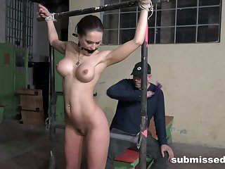 Busty become man Barbara loves being tied up and spanked by her man