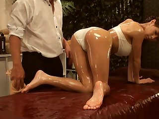 Japanese pamper oiled massage fingering and hard fuck