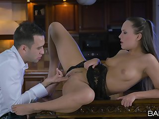 Good sex on a table encircling grant the chick insane orgasms and creampie
