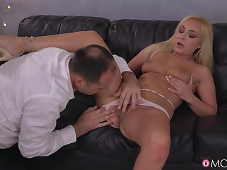 Fetching blonde keeps legs in the air open for in the air cock
