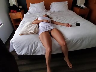 Knocked out blonde with chubby boobs is spasmodically become a fuck doll for a horny guy